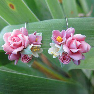 Pink Rose Cherry Blossom Earrings